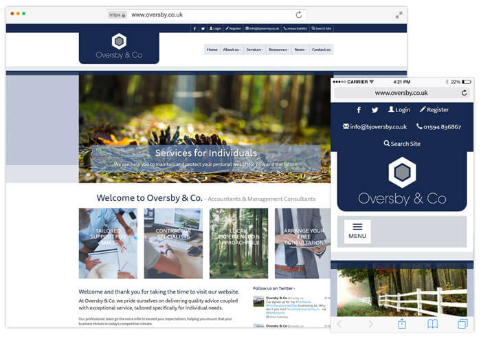 Oversby & Co website example