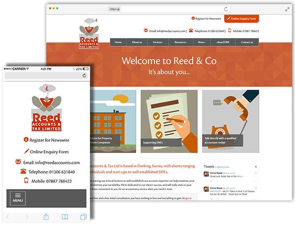 Reed and Co website example