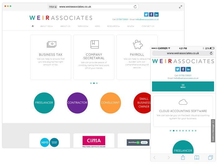 Weir Associates website example